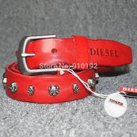 Ms. cowhide leather belt 3.5 Men's casual belts skull rivet Korean wild