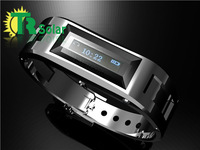 LED Bluetooth bracelet Vibrating Metal Mini Smart Caller ID Mobile Phone Vibration Function Digital Time Display free shipping