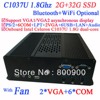 Free Shipping Mini PCs Desktop Computers with Dual VGA 6 RS232 Intel Celeron 1037U dual-core processor 1.8Ghz 2G RAM 32G SSD