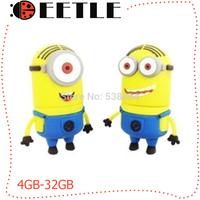 usb flash drive small yellow people pen drive cartoon usb 2.0 flash memory card pendrive 4gb-64gb u disk