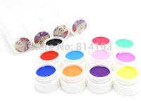 12 Color SOLID PURE UV GEL Builder NAIL ART Polish KIT Set Tips Kit Acrylic