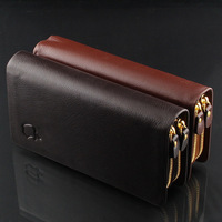 High-end Male Genuine Leather Double Layer Double Zipper Wallet Multi Card Holder Large Capacity Clutch Long Men Wallet nb251