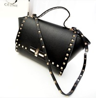 2014 new  fashion vintage rivets genuine leather  women's handbag smiley one shoulder cross-body bag messenger bag