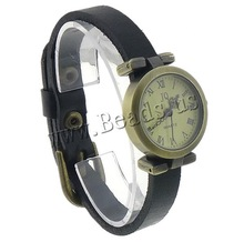 Free shipping!!!Cowhide Watch Bracelet,Cheap Jewelry Fashion, with zinc alloy dial, antique bronze color plated, black, nickel
