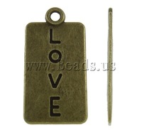 Free shipping!!!Zinc Alloy Pendants,Gift, Rectangle, antique bronze color plated, with letter pattern, nickel