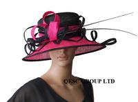 black/fuchsia hot pink Big Sinamay Hat dress hat w/ ostrich spine for wedding races church