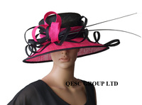 black/fuchsia hot pink Big Sinamay Hat dress hat w/ ostrich spine for wedding races church