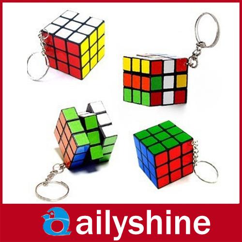 wholesale Mini Magic Cube Puzzle Magic Game magic Square Keychain key ring(China (Mainland))