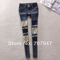 Free shipping Street trend of the dark blue jeans 2014 spring denim jeans womens patchwork hole stretch jeans pencil pants