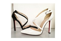 2014 new arrival sexy lady women high heel pumps point toe close halved belt women party shoes patent leather