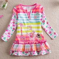 retail, Free shipping New 2014 children clothing dress kids baby girls long sleeve dress striped fashion dress for girl