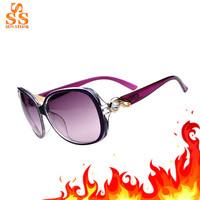 2014 Big Sale Name Brand Design Women Sunglasses,Fashion 100% UV Protection Gafas De Sol,Lady's Big Frame Rhinestone Oculos G126