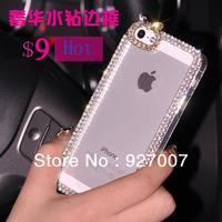 Luxury  swarovski rabbit ear shinny diamond crystal case for iphone 5 5s
