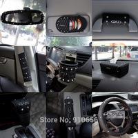 11PCS/SET HOT AUTO DAD rhinestone PU handbrake cover gear shift collar kit rearview mirror cover steering wheel cover black