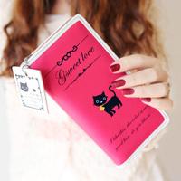 New 2014 Women Wallets Change Purses Women Clutch Wallet Purse Female Cute Cat Pendant Letter Women's Long Design Wallets A012