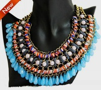 New 2014 Necklace,Coloured Rhinestones Diamonte Chain Cord Fancy Interwoven Brand Bib Statement Necklace