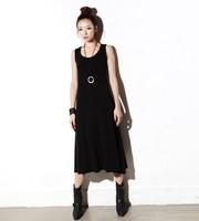 Plus Size Maxi Summer New Cotton Sleeveless Ball Gown Black Long Dress Mid-calf Expansion O-neck S,M,L,XL,XXL,XXXL,XXXXL  Solid