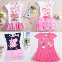 100% Cotton Peppa Pig Girl's Dress Baby Girls Pepe Pig Dresses Children Fashion Clothing Kids Cartoon Wear Child Girl Cothes