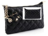LZ women's handbag clutch day clutch small sachet plaid chain bag fashion mini pu leather shoulder bags white black  21*14*1.5cm