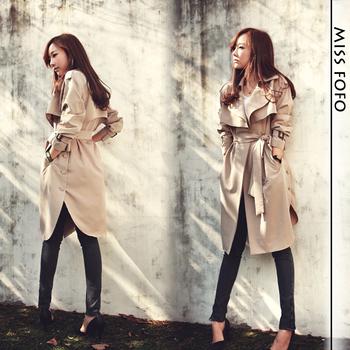 Тренч Пальто долго Верхняя одежда свободная одежда 2014 новая весна мода / вскользь ...