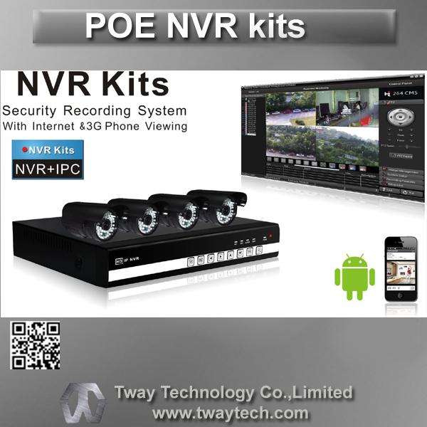 Nuovo Tway macchina fotografica del cctv poe NVR kit video dvr di sicurezza 4 canali 4 pezzi 720p ip telecamera esterna p2p ip fotocamera 720p tw-kit04-poe