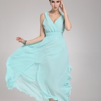 B822 plus size chiffon one-piece dress bohemia dress full beach dress women's