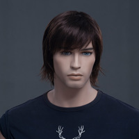 Free shipping Good Quality Synthetic Short Straight dark brown men's wig