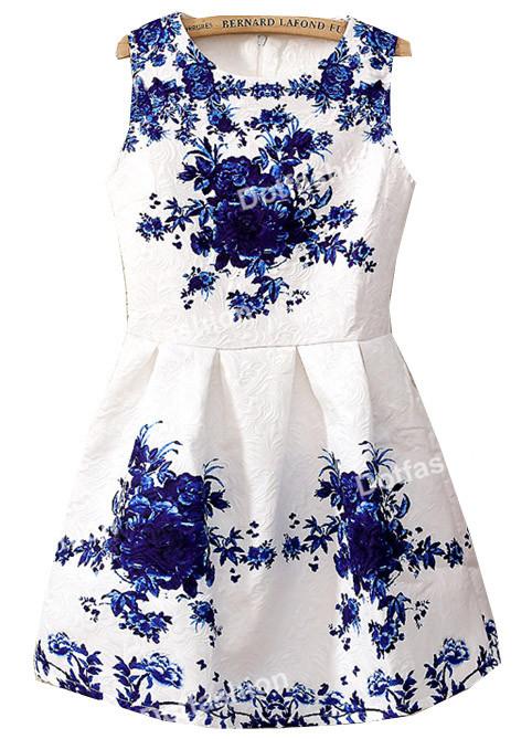 2014 Spring/Summer New Vintage Style Elegant Brand Womens Fashion White Sleeveless Porcelain Print Flare Floral Party Work Dress(China (Mainland))