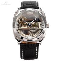 Luxury Ks Royal Carving Relogio Masculino Silver Bridge Case Auto Mechanical Black Leather Strap Self Wind Skeleton Watch/ KS133