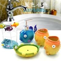 Free shipping Children's series cartoon bathroom set 5 pieces resin wash set bathroom accessories FISH-5