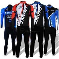 Free shipping! Giant 2012 Winter thermal fleeced cycling long jersey bib pants bike bicycle wear clothes set 4 models