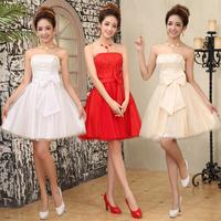 Free Shipping 2014 Bride Red Formal Dress Short Design Evening DressTube Top Bow New Design Strapless Formal Dress Banque