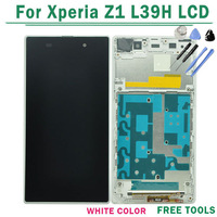 Free Shipping 100% Original For Sony for Xperia Z1 L39h LCD Screen With Touch Screen Digitizer with Frame Assembly