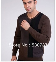 Men's clothing spring and autumn color block V-neck slim sweater male sweater thickening