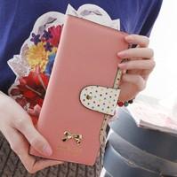 12 cards New 2014 women female zipper leather dot bow long design wallets purses credit card holders cases carteira feminina