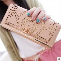 Women female leather long zipper hollow brand designer crown wallets clutch purses carteira bolsas feminina couro Free Shipping