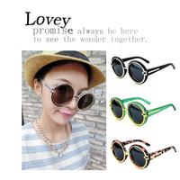 Lovey new fashion retro oversized sunglasses woman big large round frame eyewear transparent arrow decoration green multi color