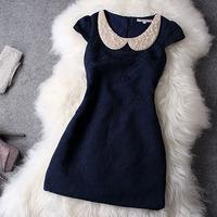2014 Spring Autumn Fashion Women Dress Quality Vintage Elegant Embroidered Beading Peter Pan Collar Blue, White Slim Girl Dress