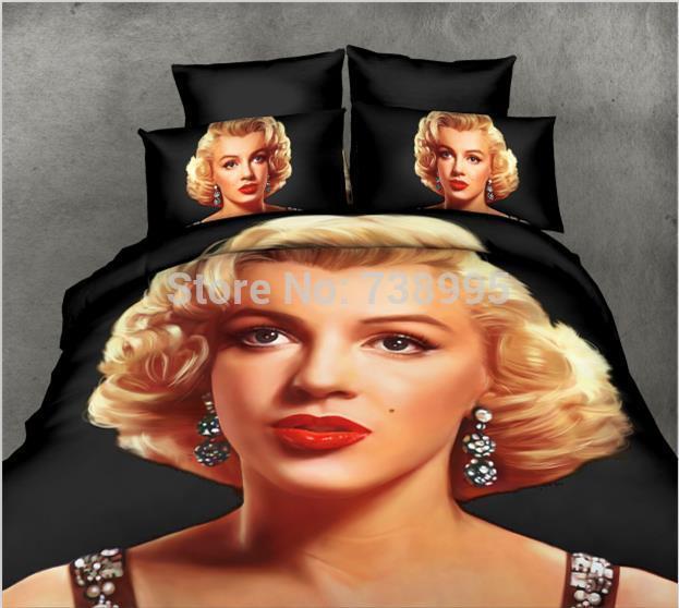 Bedding set Marilyn Monroe 3D Oil printing bedclothes duvet cover Rose sheet pillowcase bed set comforter cover set, set of bed(China (Mainland))