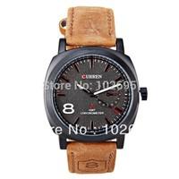2014 Newest Curren Brand Watches Men Quartz Watch Chronometer Male Wristwatch White Dial Men's Watches Brown Leather Watch