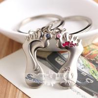 Lovers rhinestone Foot Feet keychain keychain key ring key chain Advertisement gift #K-02