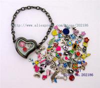 1pcs Magnetic Heart Floating locket Bracelets + 13pcs floating charm Free shipping