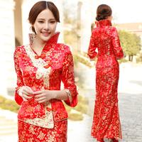 Chinese Women's Qipao Ctyle Dragon andPhoenix Wedding Wress Bride Gown Ceongsam Sexy Fashion Red Evening dress Long Design
