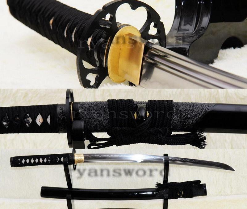 HAND FORGED CLAY TEMPERED RAY SKIN SAYA JAPANESE MARU SAMURAI WAKIZASHI SWORD(China (Mainland))