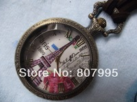 Free shipping 45 mm retro watches Eiffel Tower Leather chain Pocket Watch