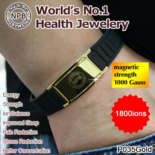 P035 Gold Noproblem Titanium Ion Balance therapy band Fashion brand power gold bracelets(China (Mainland))