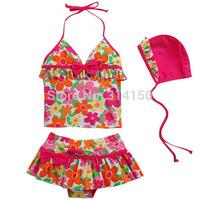 Vivo-biniya Girl's Two-piece Swimsuit Girl Summer Flower Bathing Suit Children Swimwear Three-piece Toddler Bikini Free Shipping