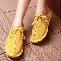 2014 spring and autumn full genuine leather flat heel single shoes genuine leather nubuck leather women's shoes casual shoes