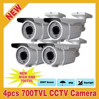 "4pcs 72 IR Outdoor 700TVL CCTV 1/3"" SONY Effio-E CCD Outdoor Security Camera Varifocal 2.8-12mm Lens OSD"