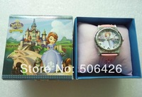 Free Shipping 1pcs New style Cartoon Sofia the first Wristwatch Kids Lovely Fashion Watches Children Watch With Gift Box